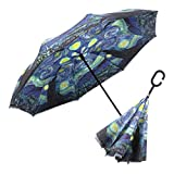 RainCaper Reverse Inverted (inside-out) Windproof Museum van Gogh Starry Night Reverse-opening Upside Down Umbrella with C-shaped Handsfree Handle