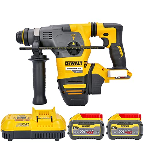 Dewalt DCH333 54v XR Flexvolt SDS+ Hammer Drill + 2 x 9Ah Batteries & Charger