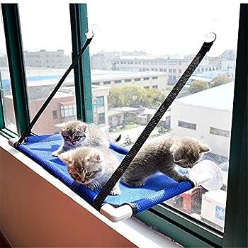 QASIMOF Hamac Chat Hamac Chat Fenetre Couchage Et Mobilier pour Chats Lit De Siège De Fenêtre Chat avec Ventouses à Bouton, Siège De Repos De Chat Po (Blue)