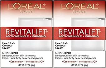 L'Oreal Paris RevitaLift Anti-Wrinkle + Firming Face & Neck Contour Cream, 1.7 Fluid Ounce (Pack of 2)