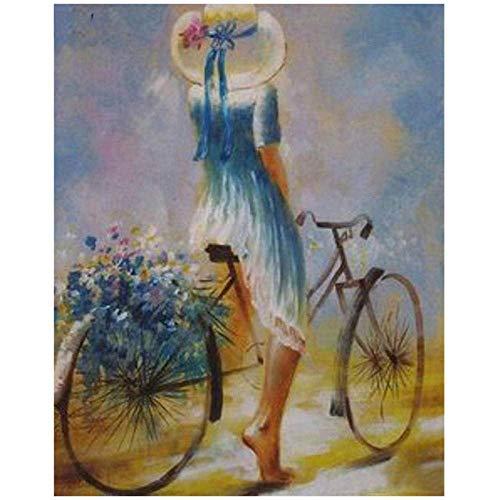 YISANWU Pintar por número Juegos Juegos DIY Pinceles Adultos niños Pinturas Decoraciones al óleo Animal,Mujer, Andar en Bicicleta,40x50cm Pared decoración Picture Pintar Kit