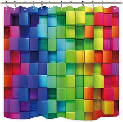 Duschvorhang Wasserdichter Mehltau Widerstand Regenbogen Geometric Plaid Duschvorhang Zoll Plastikhaken 12er Neon Rainbow Colored Blau Grün Rot Violett-Dekor-Stoff Badezimmer Set Polyester wasserdicht