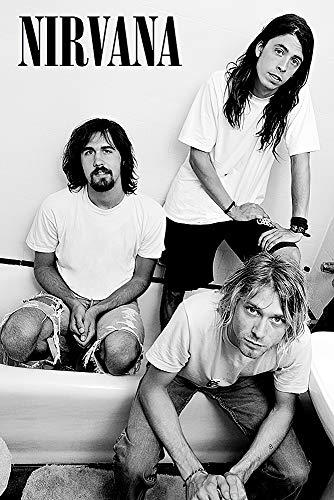"POSTER STOP ONLINE Nirvana - Music Poster/Print (B&W - Kurt, Krist & Dave) (Size 24 x 36"")"