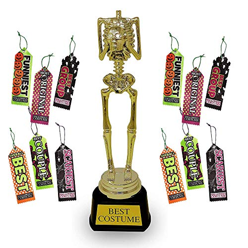 4E's Novelty Halloween Party Costume Contest Award Prize 12 Ribbons and 1 Best Costume Skeleton Plastic Gold Trophy for Halloween Costume Contest Party Awards
