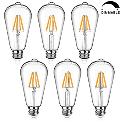 Dimmable 6W ST64 LED Edison Light Bulbs 60W Equivalent Warm White 2700K and Daylight White 4000K