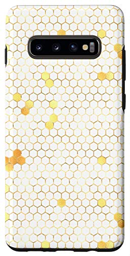 Galaxy S10+ Honey Bee Antique White and Yellow Hexagons Case