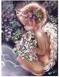 Diamante dibujo completo ical pintura de diamantes alas de ángel diamantes de imitación bordado belleza chica mosaico pegatinas decoración diamante puntos póster papel tapiz redondo-Redondo0x70cm
