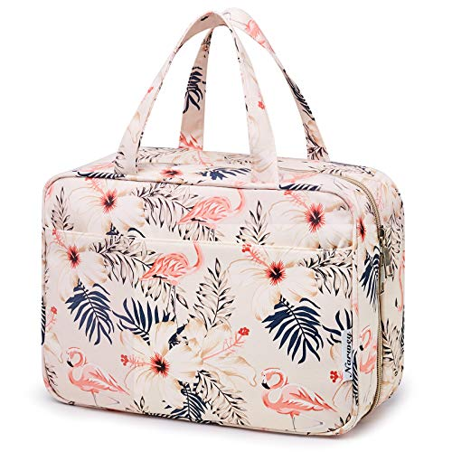 Large Hanging Toiletry Bag Travel Makeup Bag Cosmetic Organizer for Women and Girls (Beige Flamingo)