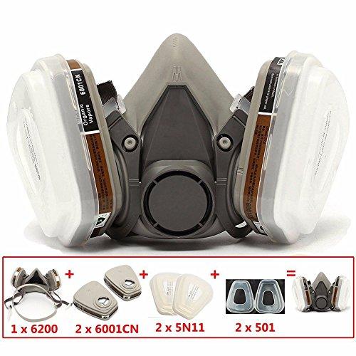 6200 máscara de gas químico 7 filtro de pintura en spray antiempañamiento Pesticida de hule, formaldehído, Particles de trabajo, media máscara de seguridad, blanco