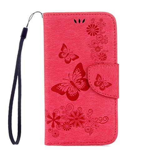 ISAKEN Kompatibel mit Galaxy S4 Mini Hülle, PU Leder Flip Cover Brieftasche Ledertasche Handyhülle Case Schutzhülle mit Handschlaufe Strap für Samsung Galaxy S4 Mini - Schmetterlinge Blumen Rosa