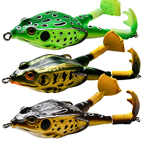 watalure 3Pcs Double-Blade Frog Whopper Plopper Topwater Fishing Lures...