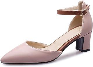 WMZQW Chaussure Mode Femme Sandale Escarpin soirée Mariage cérémonie Bride Cheville Boucle Hauts Talons Classique Bloc Tal...