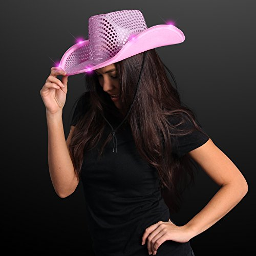 Pink Sequin Light Up LED Cowboy Hat