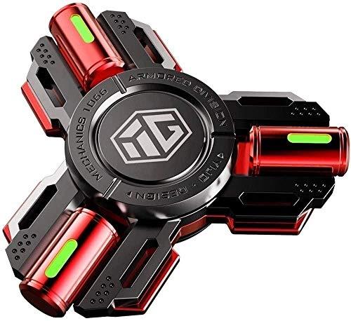 Spinner LED Luz Mano Spinner Juguete Imprimir Antiguo ADHS Relieve Diversión Juguetes Metal Finger Hand Spinner Juguetes para Juguetes Interactivos para Los Niños Adultos-Rojo Iteration