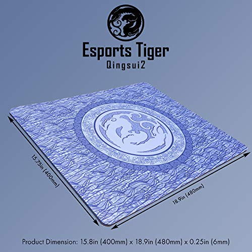 Esports Tiger Qinsui 2 Gaming-Mauspad, groß, blau, extra Plüsch, 6 mm dick (480 x 400 x 6 mm)