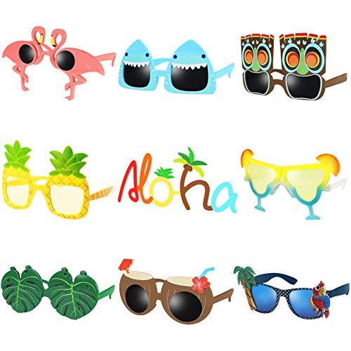 Luau Party Sunglasses - 9 Pairs Funny Hawaiian Glasses, Tropical Fancy Dress Props, Fun Summer Kids...