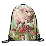 Needyo Mochila de Cuerda,Bolsas de Deporte,The Pig Trod On The Mushroom Drawstring Backpack Bag Sackpack Cinch Tote Sports String Backpack Gym Bags for Gym or Traveling