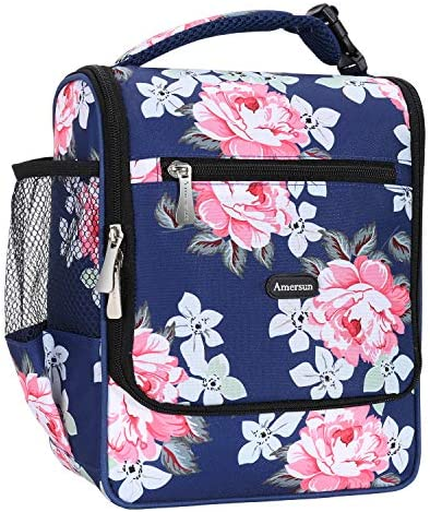 Amersun Insulated Lunch Box Spacious Stylish Lunch Bag Cooler Tote Sturdy Snack Organizer with product image