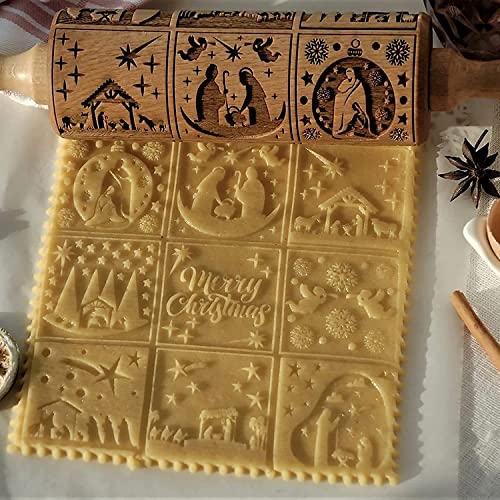ZUKIBO Nativity Pattern Xmas Christmas Wooden Embossing Rolling Pin with 9 Different Scene Design for Baking Embossed Cookie