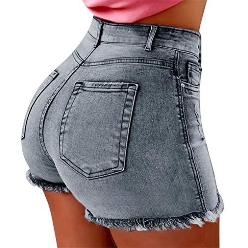 Dorical Damen Kunstleder Hohe Taille Shorts, Schwarz Sexy Hotpants Kostüm Basic Pants Leggings Kunstleder-Optik Kurze Hose (L, 1A-Blau)