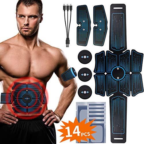 RIRGI Koiteck Electroestimulador Muscular Abdominales,Electroestimulador Muscular USB Recargable, 6 Modos y 10 Niveles de Intensidad para Abdomen/Cintura/Pierna/Brazo (14PCS Reemplazo Gel Pad)