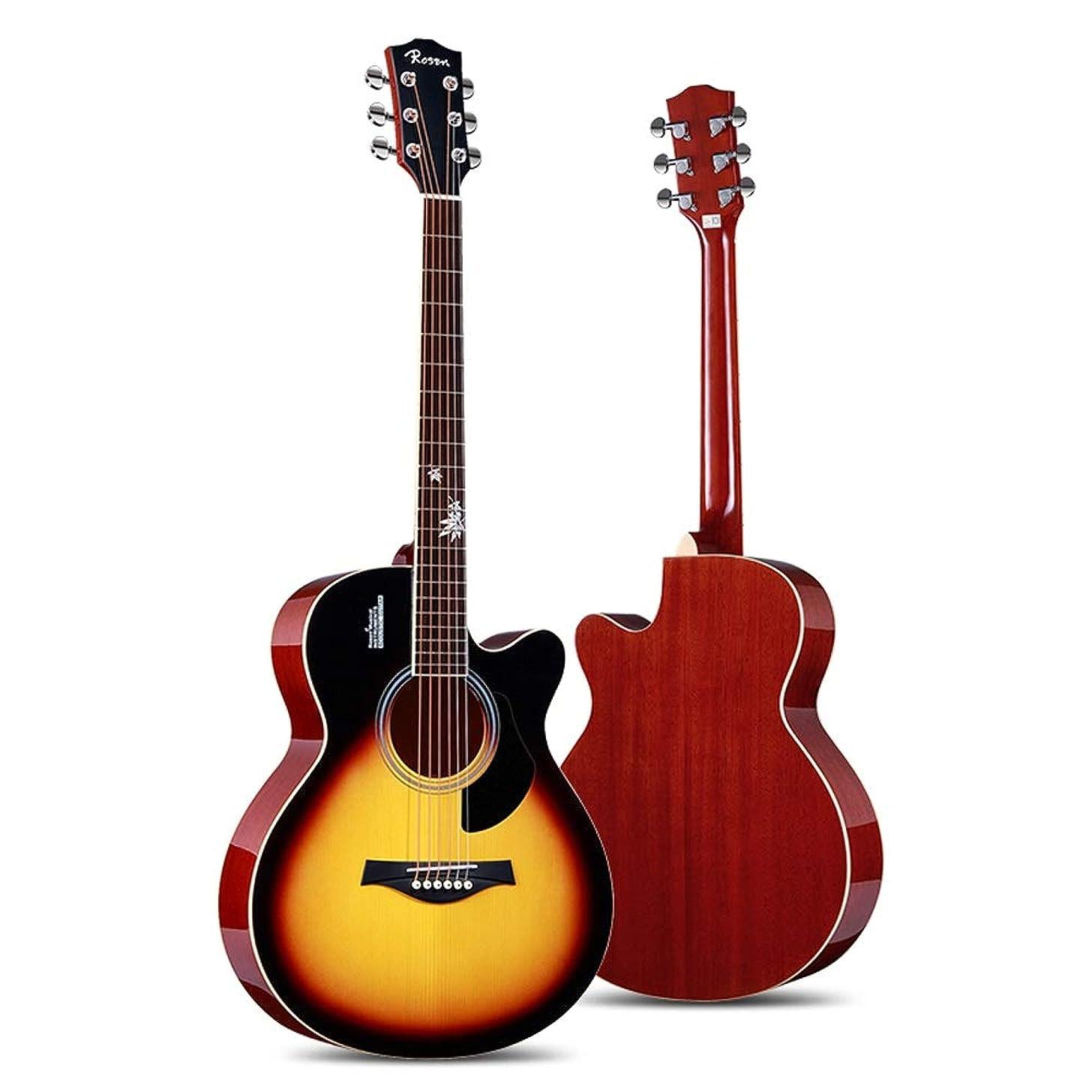 Miiliedy Minimalist Fashion Inlaid Maple Leaf Guitar 41 Inch Beginner Students Men Women Single Board Folk Acoustic Guitar with Strings Picks Tuner Capo Polishing Cloth