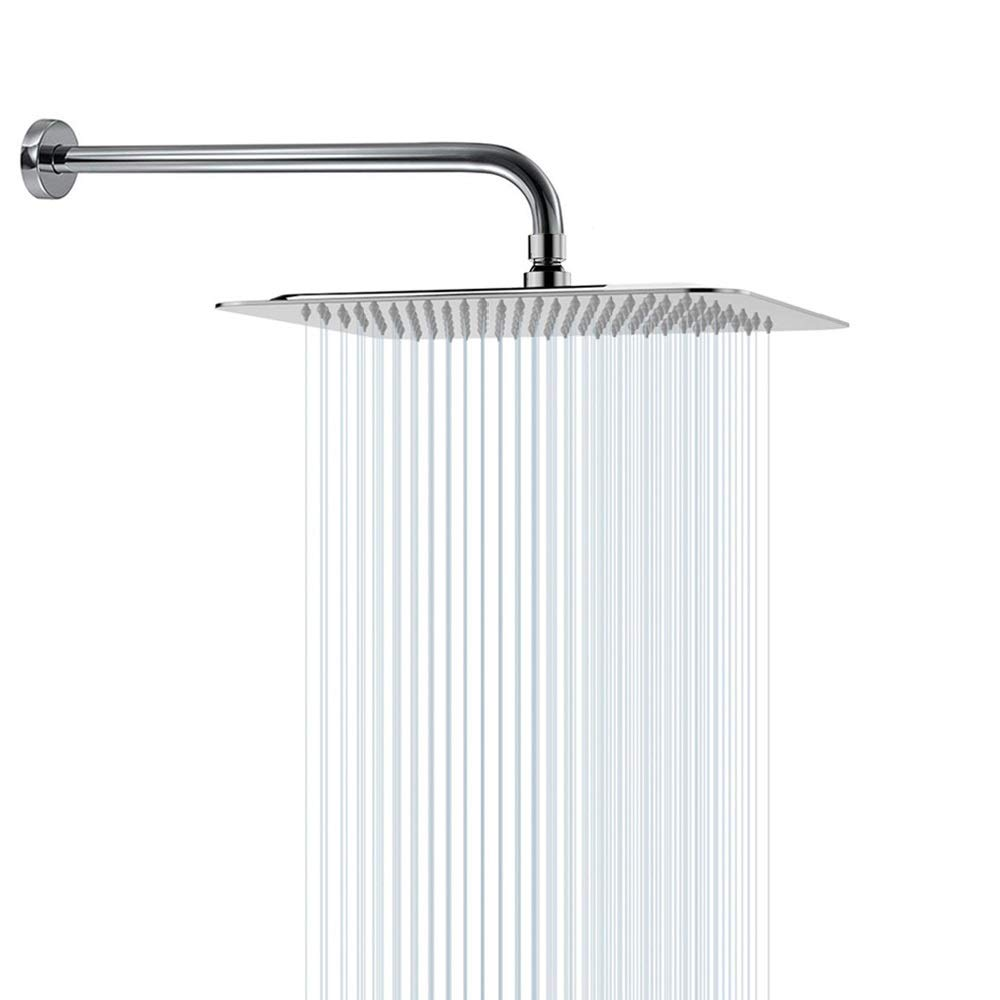 Rain Shower Head With Extension Arm Nearmoon Square Shower Heads Large Stainless Steel Rainfall Showerhead Waterfall Full Body Coverage Easy To Install 12 Inch Shower Head With 15 Inch Shower Arm Amazon Sg Home Improvement