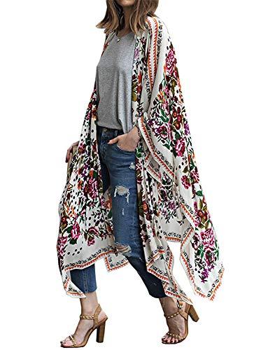 Women's Open Front Cover Ups for Swimwear Women Fall Summer Spring Floral Kimono Cardigan Wraps Shawls (White4, XL)