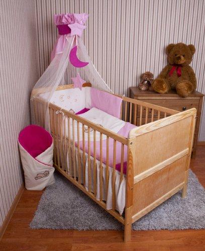 Ami Lian® Baby biancheria da letto Cielo paracolpi letto set con ricamo 100x 135cm Nuovo per lettino Teddy Rosa Chiffon Cielo