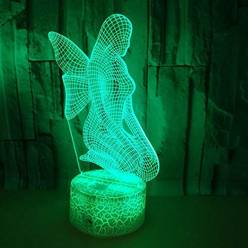 3D Illusion Light 3D Lamp for Kids 3D Led Light Elf Cracked Base 7 Colors Changing Touch Switch with Timer Remote Control and USB Cable for Best Birthday Holiday Gifts
