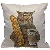 HGOD DESIGNS Kissenbezug Lustig Katze Cat Die Katze Ist Halten A Cup Von Schwarz Kaffee Und A...