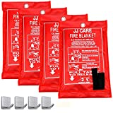 JJ CARE Fire Blanket Pack 4 Fire Suppression Blanket Fiberglass Cloth Suitable for Camping, Grilling, Kitchen Safety, Car and Fireplace Fire Retardant Blanket for Emergency 40'x40' with Hooks