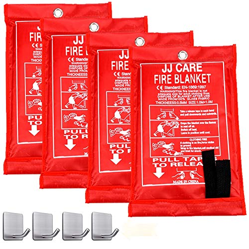 """JJ CARE Fire Blanket Pack 4 Fire Suppression Blanket Fiberglass Cloth Suitable for Camping, Grilling, Kitchen Safety, Car and Fireplace Fire Retardant Blanket for Emergency 40""""x40"""" with Hooks"""