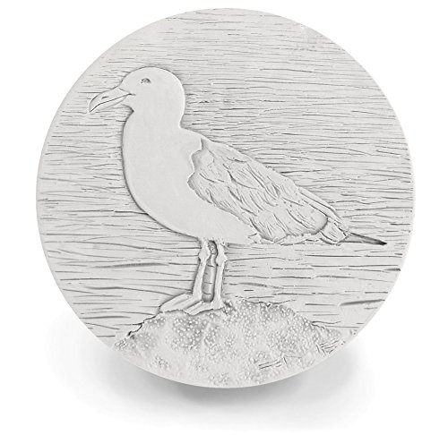 "Drink Coasters - Absorbent - Seagull - set Handmade by McCarter Coasters for Beach House - Tabletop Protection - House Warming - Hot or Cold Beverages 4.38"" Off-White (4pc)"