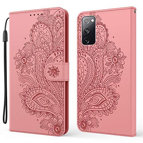 Nadoli Brieftasche Hülle für Samsung Galaxy S20 FE,Schön Geprägt Pfau Blumen Pu Leder Magnet Handyhülle Tasche Schutzhülle Handytasche Klapphülle Standfunktion mit Kartenfächer