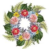 Rocinha Floral Wreath for Front Door Decor 22'' Artificial Spring Wreath with Peony Hydrangea Rose, Large Summer Wreath for Door, Window, Outdoor, Farmhouse Home Decor