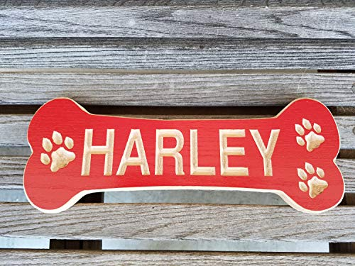 Olga212Patrick Dog Bone Shaped Wood Plaque Sign Pet Name Personalized Wooden Printed Printed New Puppy Printed Plaque Doghouse Name Plate 12 x 5 Red