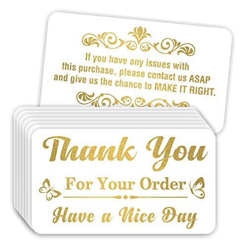 Thank You for Your Order Purchase Cards (Pack of 100) Stunning Gold Foil Letterpress 3.5' x 2' Package Insert