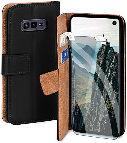 moex Handyhülle für Samsung Galaxy S10e - Hülle mit Kartenfach, Geldfach & Ständer, Klapphülle, PU Leder Book Hülle & Schutzfolie - Schwarz