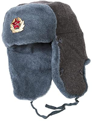 TEPEM Authentic Russian Army Ushanka Winter Hat-56, with Soviet Army Officer Insignia Gray