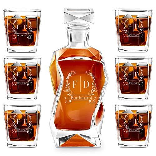 Murrano Set Decanter per Whisky in vetro - da 700 ml - incisione personalizzata - Caraffa con 6 bicchieri - idea regalo per l'anniversario - Fiori di campo