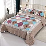 VIVILINEN 3 Teilig Bettwäsche Set 230 x 250cm Tagesdecke Bettüberwurf Patchwork Steppdecke Bettdecke für Doppelbett (Khaki, 230 x 250 cm)