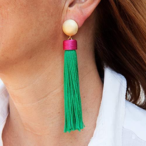 Pendientes largos mujer borla fleco de seda combinado con capuchón estilo boho Cierre omega étnico, Hecho a mano, seda vintage. Fucsia y verde