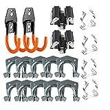 3-H Porte-outils double crochet - Pour poignées en T / support mural / porte-outils / support de bêche - Avec vis et chevilles (18)