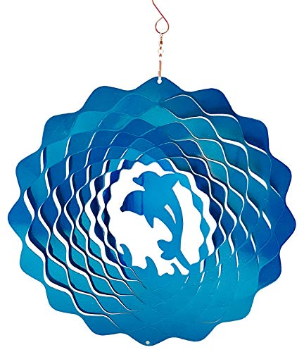 Dundee Deco W1010 Wind Spinner in Gift Box - 3D Hanging Indoor Outdoor Yard Garden Decoration - Mandala - Dolphins - Blue - 12 inch - Unique Gift Idea for Men Women, Souvenir, Present