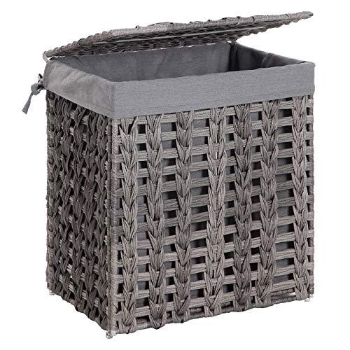 SONGMICS Wäschekorb handgeflochten, Wäschesammler aus Polyrattan, Wäschesack herausnehmbar, mit Deckel, Metallgestell, Aufbewahrungskorb, 45,5 x 32 x 51,5 cm, Wohnzimmer, Badezimmer, grau LCB50GW