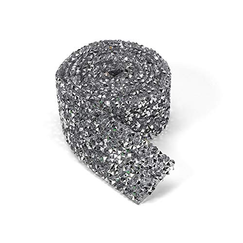 Gobesty zilveren kristal strass lint strass strass strass strass lint trim, diamant mesh wrap roll strass kristal lint decoratie voor kleding jurk riem kraag accessoire zilver 1 werf 1.1inch breedte)