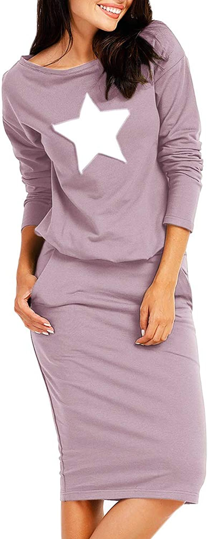 Geckatte Womens Long Sleeve Dresses Casual Slim Bodycon Knee Length Dress with Pockets