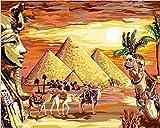 Pintar Por Numeros Adultos Niños Piramide Egipcia Pintura Al Óleo Diy Lienzo Pintura Por Números Kits Decoración De Pared Regalos 40X50Cm Sin Marco