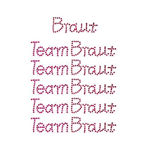 Oblique Unique® Braut + Team Braut Strasssteine Sticker Set JGA Hochzeit Aufkleber zum Verzieren Aufkleben auf Geschenke Schuhe T-Shirt UVM. Pink